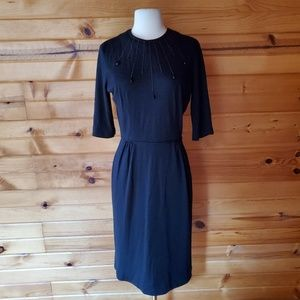 1950s Ricci Originals Black Knit & Beaded Wiggle D